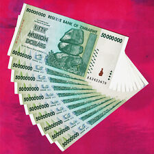 50 Million Zimbabwe Dollars x 10 Banknotes AA 2008 ~ Extremely Fine XF Condition