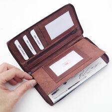 Brown  Leather Zip Cowhide Premium Checkbook Cover Organizer Wallet LP 498