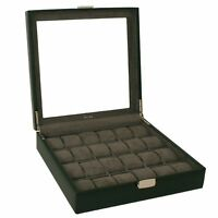 24 Watch Box XL Single Level Black Leather Large Compartments TS5849BLK