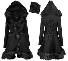 Manteau gothique lolita fashion capuche dentelle fourrure pompon corset PunkRave