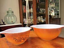 Vintage Pyrex Orchard Cinderella Bowls, #442 & #441, two tone brown