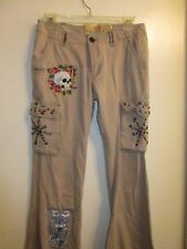 Ed Hardy 26 Cargo Pants Beige Rhinestone Studded Graphic Skull Printed Floral