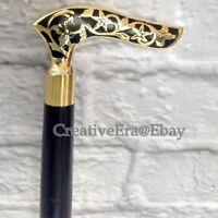 Designer Brass Resin Head Handle Walking Stick Black Wooden Brass Inlaid Cane