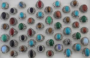 49pcs Natural Stone Jewelry Wholesale Mixed Lots Fashion Women/Men's Cool Rings