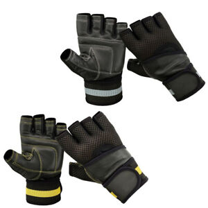 Leather Gym Gloves Weight Lifting Gloves Body Building Training Exercise Straps