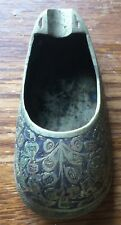 """Vintage Ashtray Brass Slipper Hand Painted India 382.c 3"""" Very Detailed Excellen"""