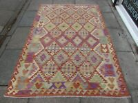 Kilim Old Traditional Hand Made Afghan Oriental Kilim Red Purple Wool 222x150cm