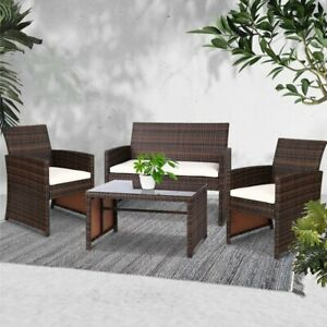 Gardeon Garden Furniture Outdoor Lounge Setting Wicker Sofa Set Patio Brown