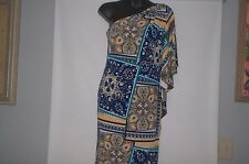 CACHE Multi-Color Floral/Abstracts Print One Shoulder Jersey Knit Dress Size 8