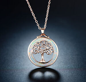 Sevil Tree of Life Created Opal Pendant Necklace In 18K Rose Gold Plating