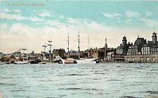 Vintage Postcard Saint John New Brunswick Canada Elevator Ships in Harbor