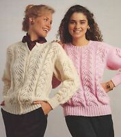 "Ladies Sweater and Cardigan Knitting Pattern with Lace Panel in DK 32-42"" 853"