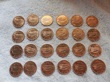 Lot - 24 Ireland Coins from Original Roll - Nice Unc Coins Eire - 1960's