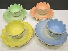 8 Hocking Fire King VITROCK LOTUS LEAF & BLOSSOM Luncheon Sets +2 extra plates