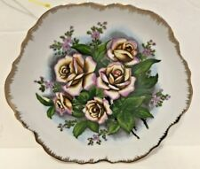 Decorative Plate Wall Hanging Pink Roses White Gold Trim Collectors Plates