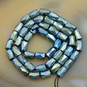 100Pcs Natural Magnetic Hematite Gemstone FacetedTube Beads 5x8mm MetallicColors