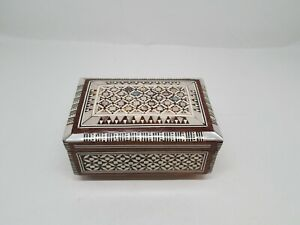 """VINTAGE Mother of Pearl Inlaid Jewelry Box Small 5""""x3""""x2"""" Velvet Lined Egyptian"""