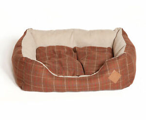 Danish Design Brown Tweed Snuggle Dog Bed Faux Suede Cushion Puppy Pet Basket
