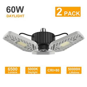 LZHOME 2-PACK LED Garage Lights, 6500Lumens Adjustable Trilights Garage Ceiling