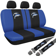 Car Seat Covers Embroidered Blue Dolphin Logo 8pc Bench for Auto w/Belt Pads