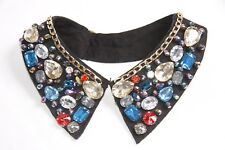 Women Cleopatra Style Black Collar with Multi-coloured Diamonds&Gold Chain(S284)