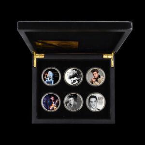 6pcs/set Elvis Presley 24k Gold Foil Challenge Coin Pop Star Coin with Box