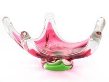 Vintage Czech cranberry white clear tricolor bowl Josef Hospodka Chribska glass