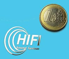 HIFI SOUND SYSTEM METALISSED CHROME EFFECT STICKER LOGO AUFKLEBER 30x24mm [683]