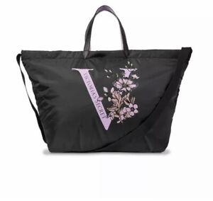 Victorias Secret Large Logo Black Lilac Floral Puffy Zip Weekender Bag