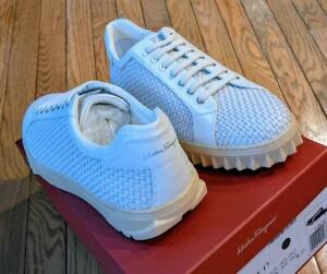 $695 Mens Authentic Salvatore Ferragamo Woven Leather Platform Sneakers White 11