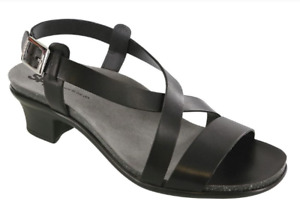 SAS Nouveau Alfa Black Slingback Sandal Heel Leather 10W USA New in Box $136