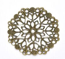 30 Bronze Tone Filigree Flower Wraps Connectors 50mm