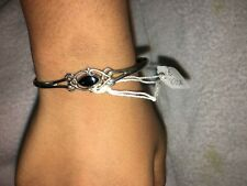 925 Sterling Silver* Cuff bracelet* with onyx*adjustable