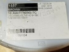 Alpha 1557 #16awg Tinned Copper PVC Hook-Up Wire MIL-W-76B 80C/1000V BROWN/100ft