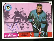 1968-69 Topps #102 EARL INGARFIELD Autograph/Auto Card Pittsburgh Penguins