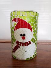 NIB! Celebrating Home Green Mosaic Snowman Christmas Holiday Small Candle Holder