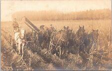 Mason City Iowa RPPC Farming Scene Horse-Drawn Thresher 1913
