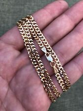 "Ladies 18"" 14k Yellow Gold Over Solid 925 Silver 4mm Flat Cuban Chain ITALY"