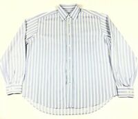 Brioni Blue White Striped Long Sleeve Button Up Men's Shirt SZ L Made In Italy