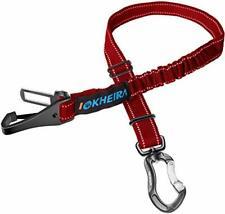 Iokheira Hunde Sicherheitsgurt, 3-in-1 Verstellbar Sicherheitsgeschirre (Rot)