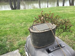 Antique Vintage Minnow Bucket Metal  Wood Handle