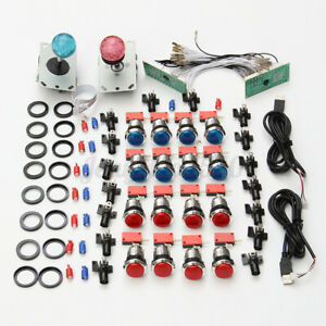 2 Player Arcade DIY Kit Game USB Controller Joystick LED Lighted Push Button DIY