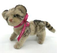Steiff Kitty Cat Tabby Jointed Mohair Plush 17cm 7in 1950s Glass Eyes Vtg no ID