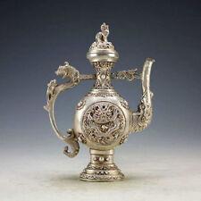 Chinese Vintage Handwork Silver Bronze Dragon Tea Pot