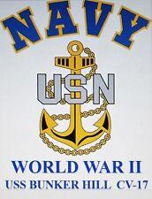 USS BUNKER HILL  CV-17* WORLD WAR II* CARRIER U.S NAVY W/ ANCHOR* SHIRT