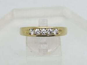 Solid 10k Yellow Gold Round White DQ Cubic Zirconia CZ 5mm Band Ring Size 12