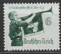 Stamp Germany Mi 584y Sc 463 1935 WW2 Third Reich War World Hitler Trumpet MNH