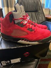 buy popular 2576b 8a802 Air Jordan Retro 5 V Raging Bull Red Suede Toro Bravo 3M 360968 991 DS Size