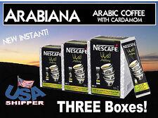 THREE BOXES NESCAFE Instant Arabiana Arabic Coffee with Cardamom. USA Shipper.