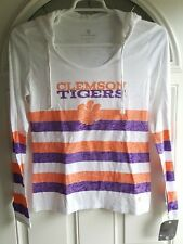 Clemson Tigers Hoodie Burnout Style L/S Striped w/Drawstring Womens Med White